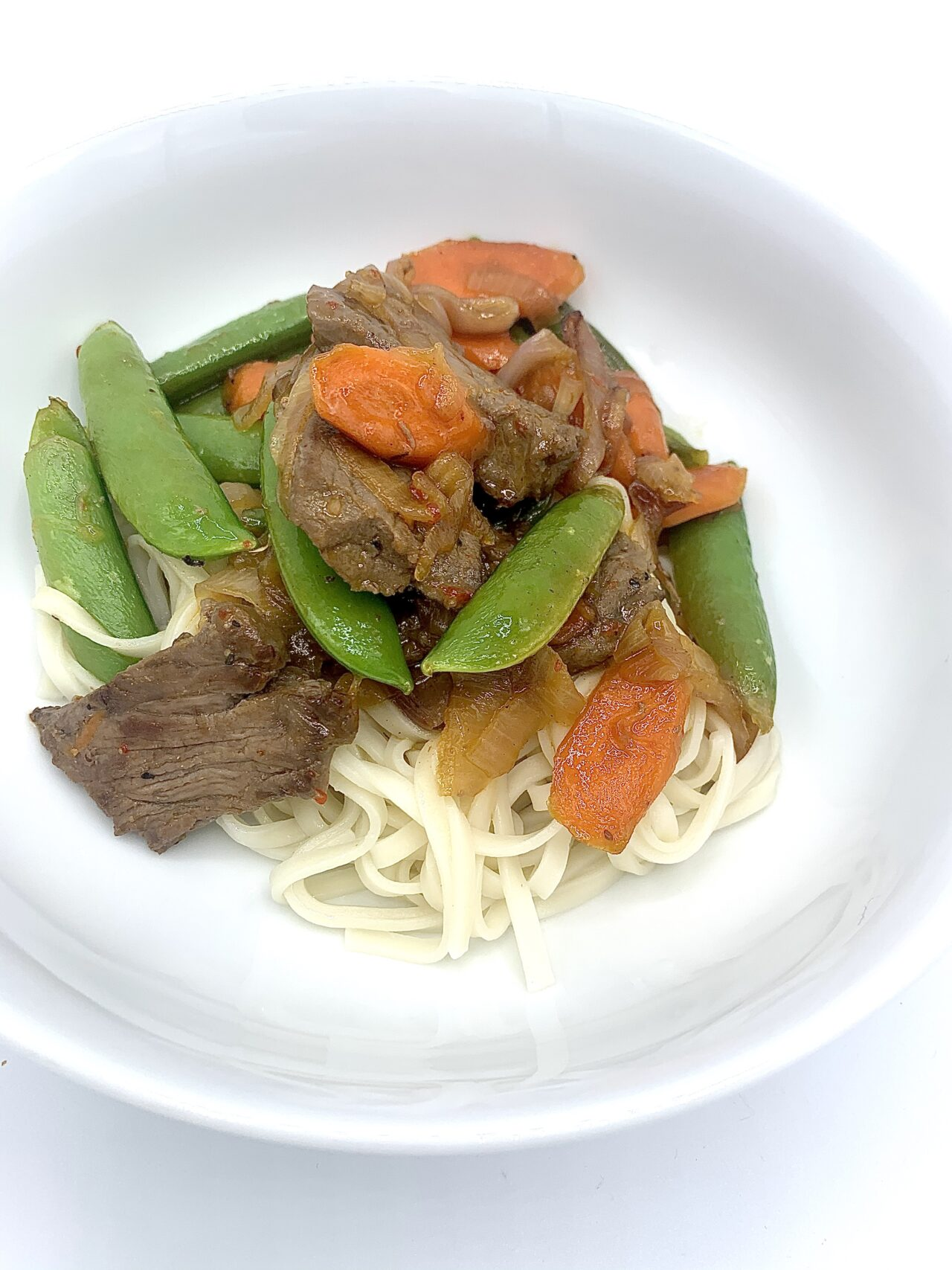 Sweet & Spicy Beef Stir-fry with noodles